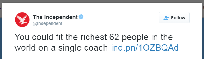 You could fit the richest 62 people in the world on a single coach